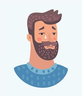 Il ragazzo dei pantaloni a vita bassa di espressione facciale degli uomini della barba affronta pianto sorpreso triste