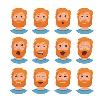 Barba uomini espressione facciale icone isolate. Vettore Premium