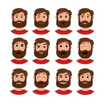 Barba uomini espressione facciale icone isolate.
