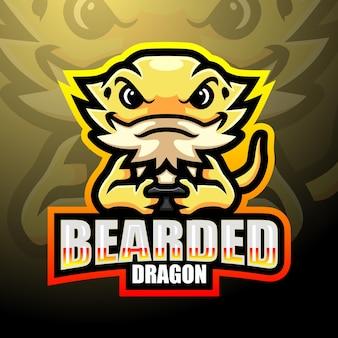 Mascotte del logo esport del drago barbuto