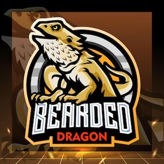 Disegno del logo esport della mascotte del drago barbuto