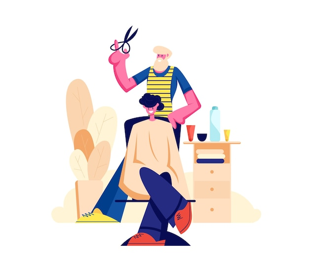 Barbuto parrucchiere barbiere che fa al taglio di capelli giovane cliente maschio in uomini salone di bellezza barbiere