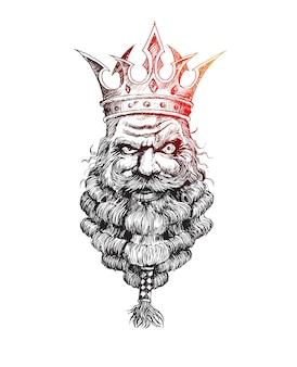 Re barbuto con una corona sulla testa sfondo vettoriale schizzo disegnato a mano