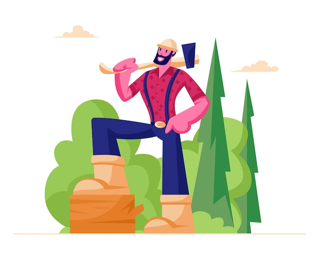 Personaggio maschile barbuto boscaiolo in camicia a quadri che tiene ascia sulla spalla stand sul ceppo di legno nella foresta
