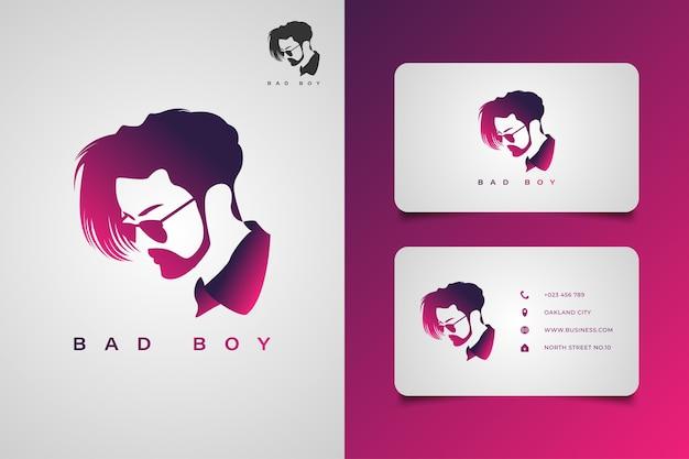 Logo uomo barbuto con acconciatura cool utilizzando occhiali nel concetto di gradiente. elegante logo uomo per il tuo business