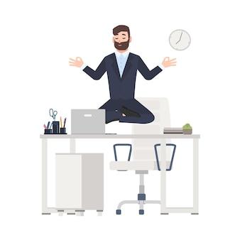 Uomo barbuto o impiegato vestito in tailleur seduto a gambe incrociate, levitando sulla scrivania del posto di lavoro e meditando. tranquillità al lavoro. illustrazione vettoriale colorato in stile cartone animato piatto.