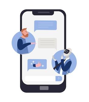Uomo barbuto che parla con robot o android e messaggi di chat sullo schermo dello smartphone. concetto di conversazione chatbot, servizio di supporto tecnico. illustrazione colorata in stile cartone animato piatto.