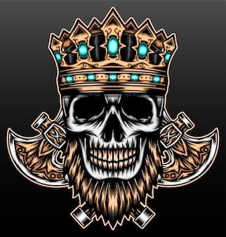 Cranio barbuto con corona isolata sul nero