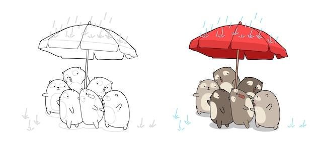 Orsi nella pagina da colorare dei cartoni animati di giorno di pioggia per i bambini