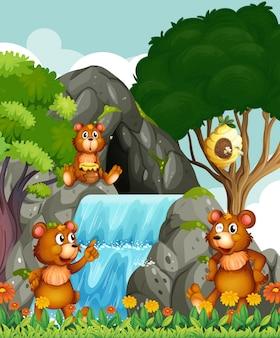 Orsi che si rilassano vicino alla cascata