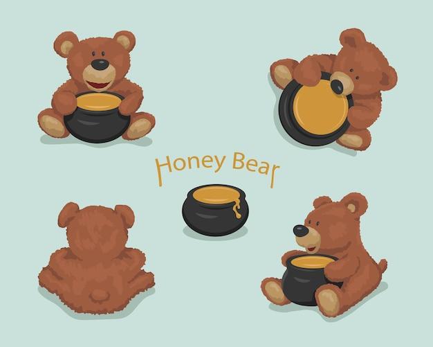 Set di giocattoli per orsi. cartone animato orso bruno. vaso di miele. illustrazione vettoriale isolato su sfondo.