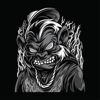 Beast mode illustrazione in bianco e nero