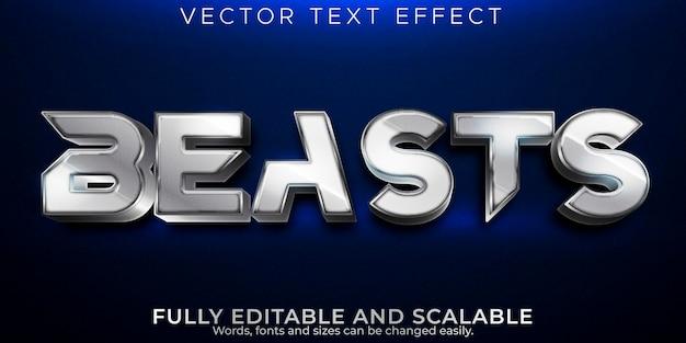 Effetto di testo modificabile bestie, stile di testo metallico e lucido