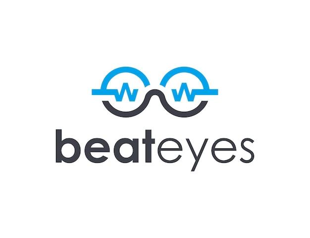 Battito e occhiali delineano un design del logo moderno geometrico semplice ed elegante