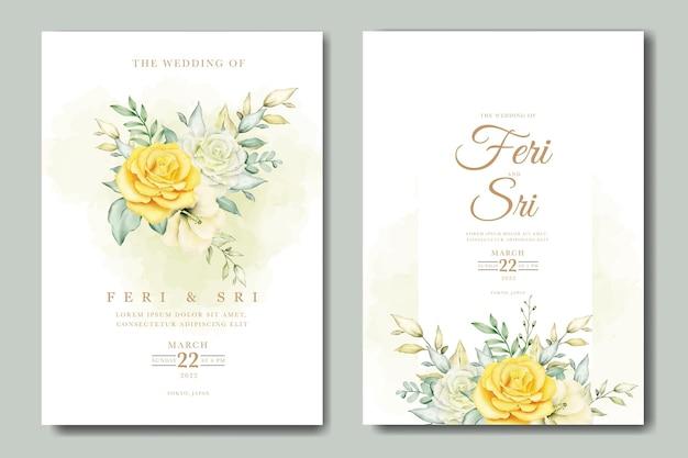 Bellissimi fiori e foglie modello di biglietto d'invito per matrimonio ad acquerello