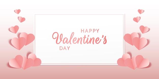 Bellissimo biglietto di auguri pastello rosa o striscione con cuori rosa buon san valentino vector
