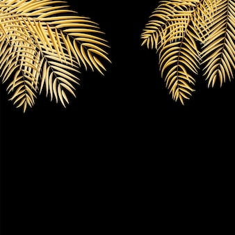 Beautifil golden palm tree leaf silhouette background vector illustration eps10