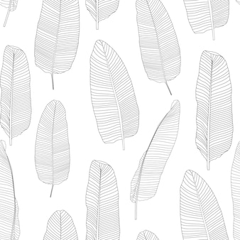 Beautifil palm tree leaf silhouette seamless pattern background vector illustration eps10