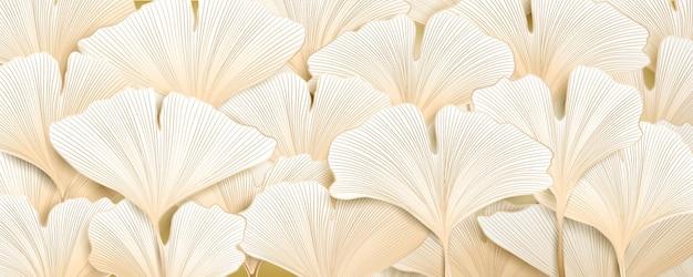 Bellissimo sfondo astratto con foglie di ginkgo dorate per il design del packaging, banner sui social media.