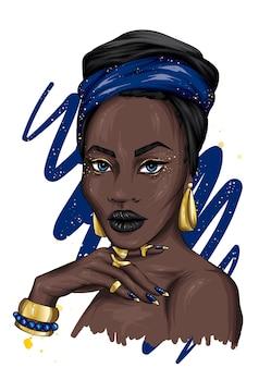 Una bella donna africana in turbante e gioielli