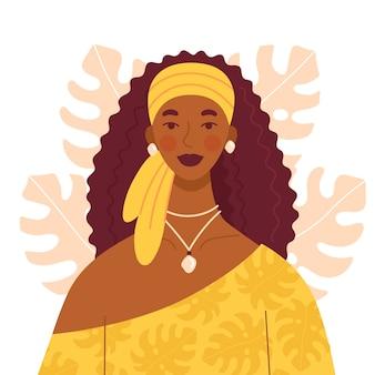 Bella donna africana con lunghi capelli ricci in un vestito giallo e con una sciarpa in testa. un set di gioielli sulla ragazza. personaggio in stile piatto con sfondo di foglie di monstera