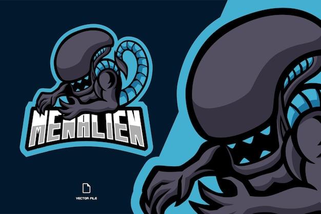 Bella illustrazione di logo esport mascotte alieno predatore