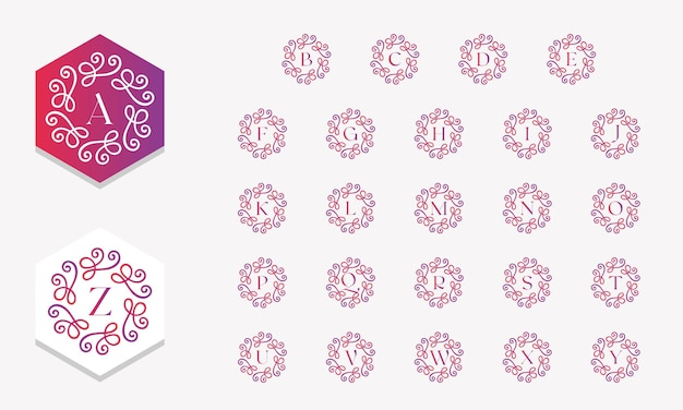 Bella collezione di alfabeti decorata con ornamenti in stile sfumato vettore gratuito