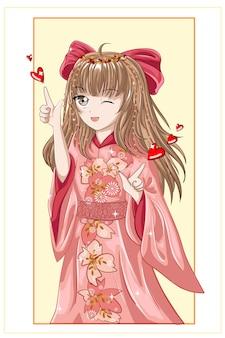 Bella ragazza anime giapponese con capelli castani che indossa kimono rosa e nastro rosso per capelli