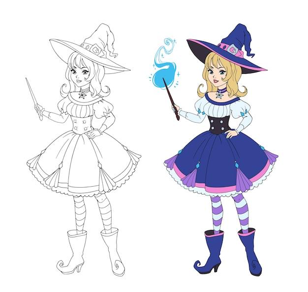 Bella strega anime che tiene la bacchetta magica