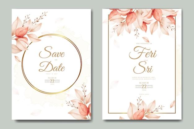 Bella carta di invito a nozze autunno autunno con foglie floreali acquerello