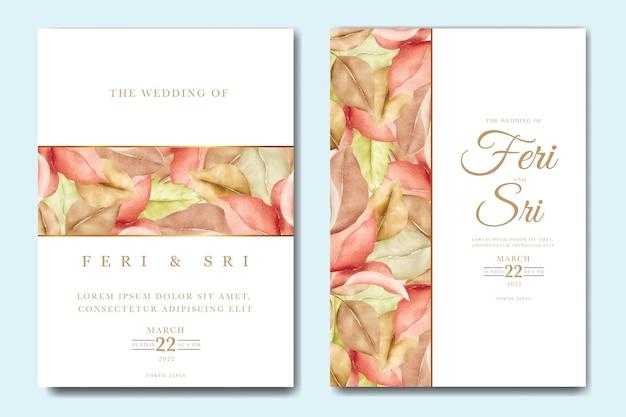 Bella carta di invito a nozze autunno autunno Vettore Premium