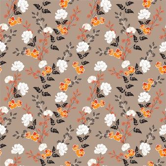 Bei fiori di fioritura di autunno e modello floreale senza cuciture della pianta botanica
