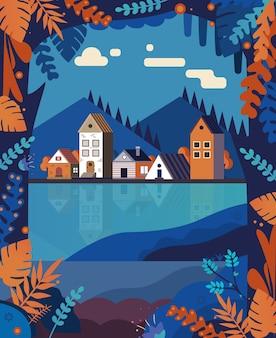 Bellissimo parco cittadino di colore autunnale intorno al lago