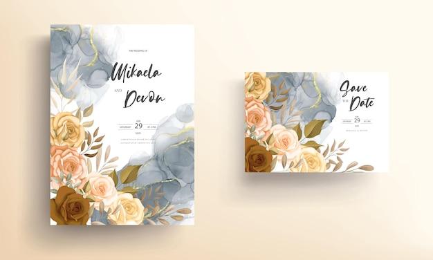 Carta di invito a nozze con bellissimi fiori autunnali con inchiostro ad alcool