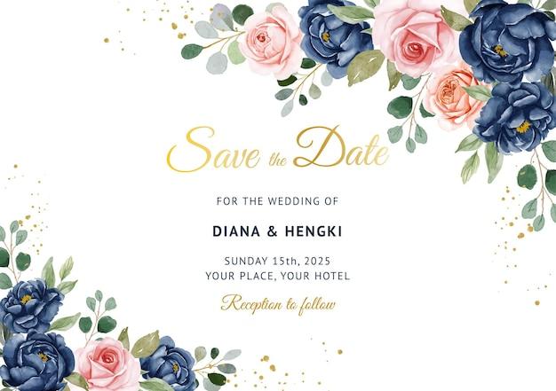 Bellissimo sfondo blu marino e pesca floreale sul modello di carta di invito a nozze