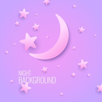 Bellissimo sfondo con la luna e le stelle in colori pastello. illustrazione