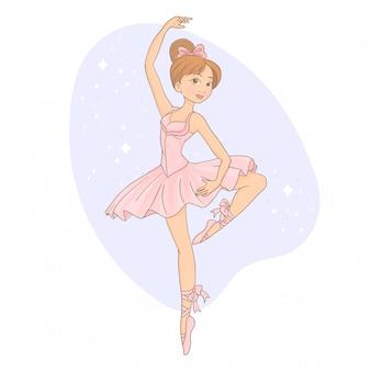 La bella ballerina sta posando in studio
