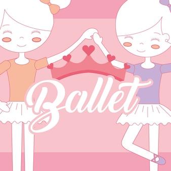Balletto di belle ballerine che si tiene per mano corona
