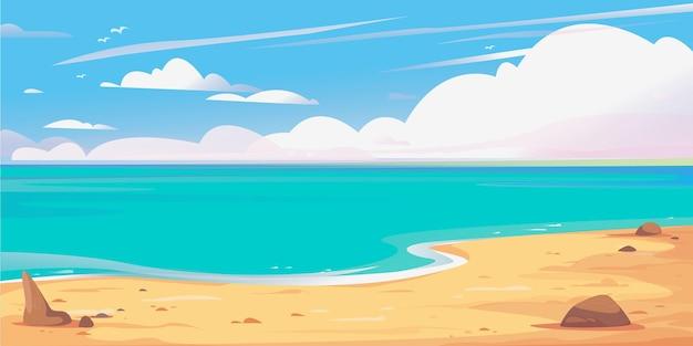 Bellissimo banner mare e cielo nuvole spiaggia sabbiosa maldive clipart sfondo per viaggi in crociera