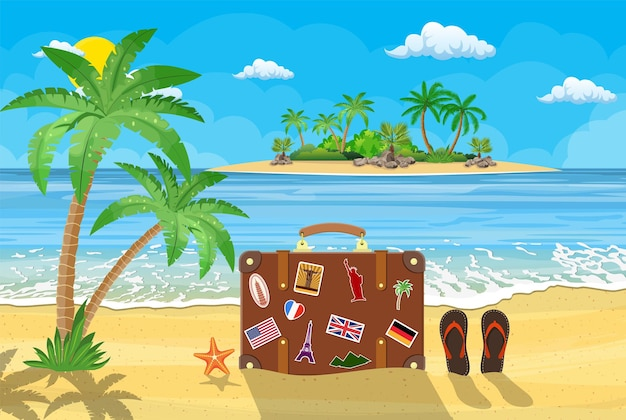 Bellissima spiaggia in riva al mare, palme, montagne, spiaggia, valigia, stelle marine