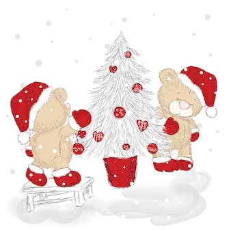 Bellissimi orsi in abiti natalizi e capodanno