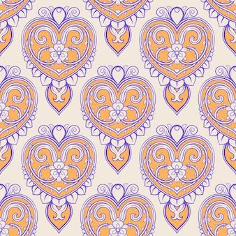 Bellissimo sfondo beige con cuori e fiori vintage viola e arancioni