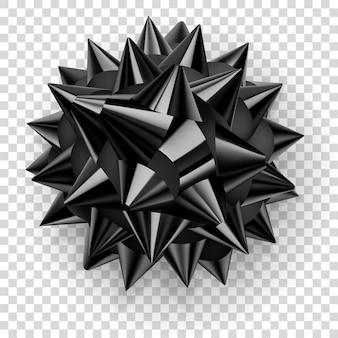 Bellissimo grande fiocco fatto di nastro nero lucido con ombra su sfondo trasparente