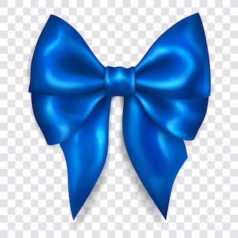 Bellissimo grande fiocco fatto di nastro azzurro con ombra su sfondo trasparente