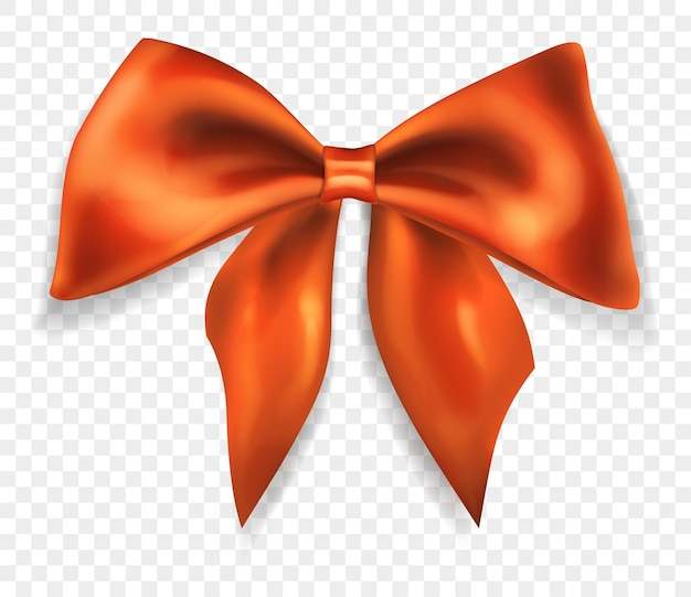 Bellissimo grande fiocco fatto di nastro arancione con ombra, isolato su sfondo trasparente. trasparenza solo in formato vettoriale
