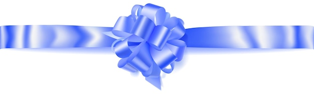 Bellissimo grande fiocco orizzontale fatto di nastro blu con ombra su sfondo bianco