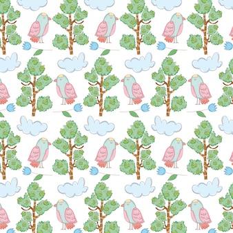 Bellissimo uccello con pattern di alberi