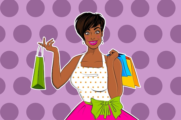 La bella casalinga africana nera di pop art della ragazza va a fare shopping.
