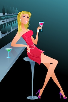 Bella donna bionda in un bar