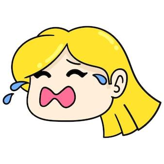 Bella ragazza bionda bella sta piangendo, emoticon cartone illustrazione vettoriale. disegno dell'icona scarabocchio